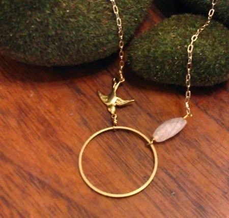 Gold Link, Swallow, Quartz Necklace SALE