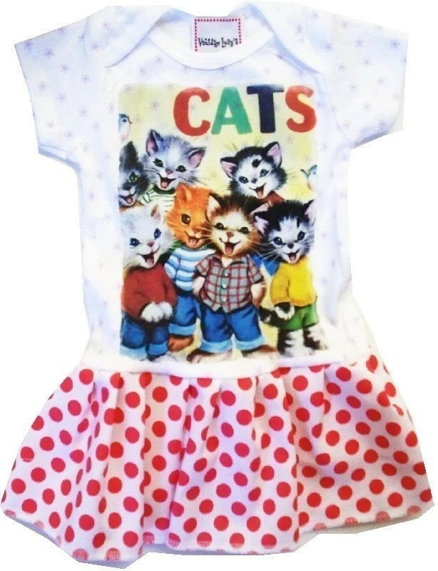 CHILDRENS BOUTIQUE DRESS - Size nb up to 10 youth - POLKADOTTED KITTENS