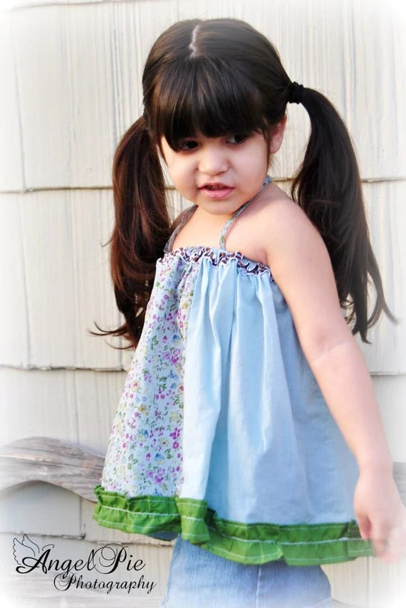 Super cute upcycled funky vintage blue swirly girl top 3-4T