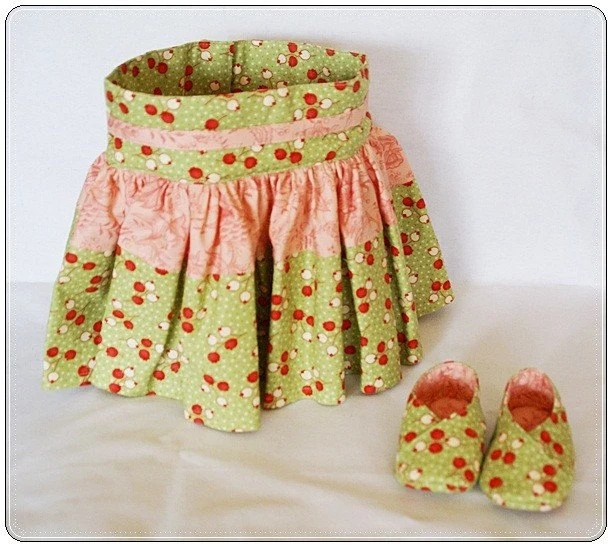 Baby Skirt and Matching Shoes GREEN AND PINK