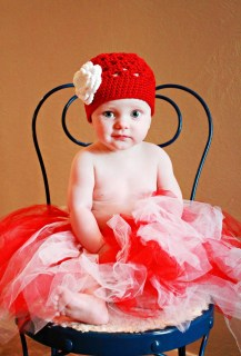 3-6 month Red Ava Beanie with White Ava Flower