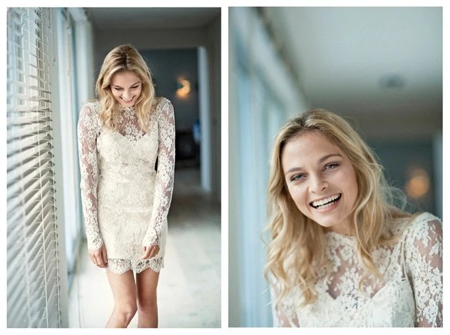 Vintage Inspired Short Lace Wedding Dress with Sleeves