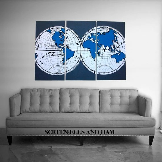 Modern Style OLD WORLD MAP hand pulled large screen print set of 3 Peacock Blue/Gray by ScreenEggsAndHam