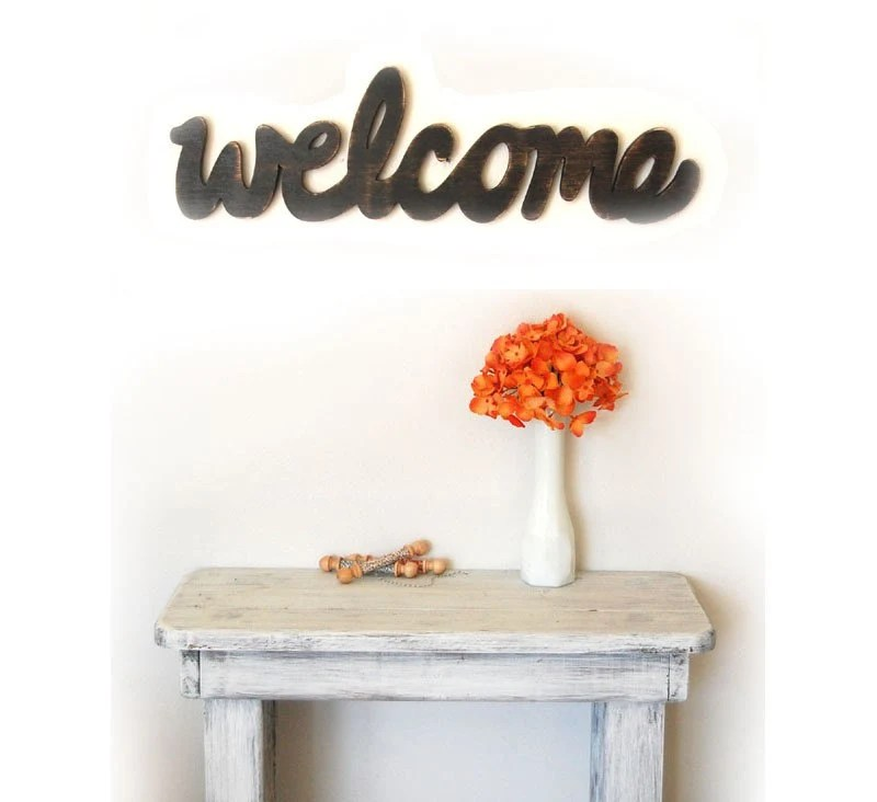 Wood sign cottage style - Welcome - Lamp Black