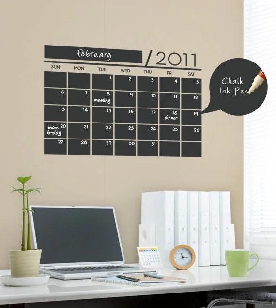 Chalkboard Wall Calendar - Vinyl Wall Sticker