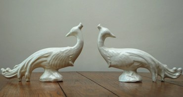 the estate of things chooses vintage ceramic peacocks