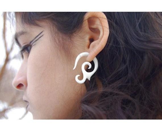 FAKE GAUGES - Graceful Curls - Organic Bone Earrings