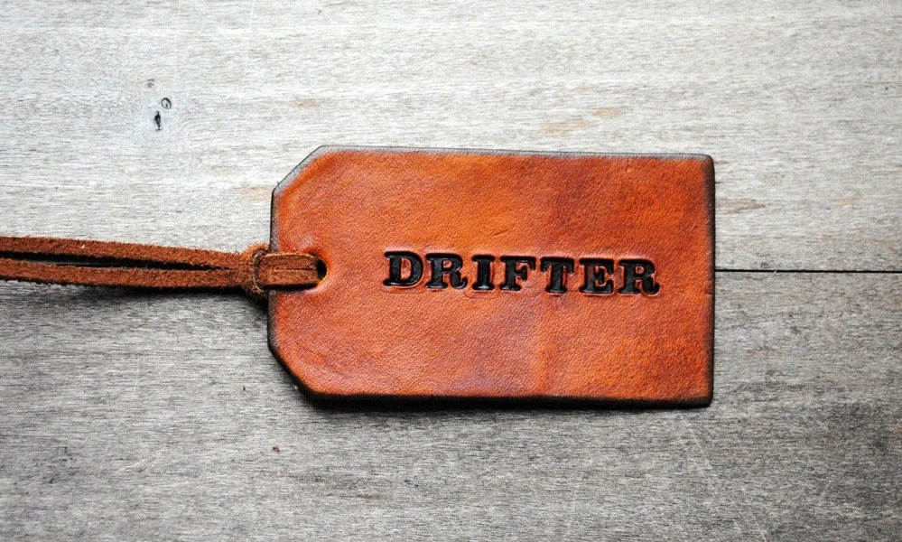 Drifter. NEW. Attribute Tag. Ready-made Decorative Leather Luggage Tag. Immediate Shipping. Masculine Gift for Him or Her.
