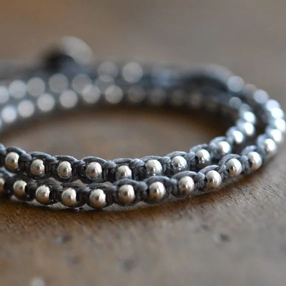 Double Wrap around One after the Other beaded bracelet with sterling silver and slate grey/gray irish linen cord