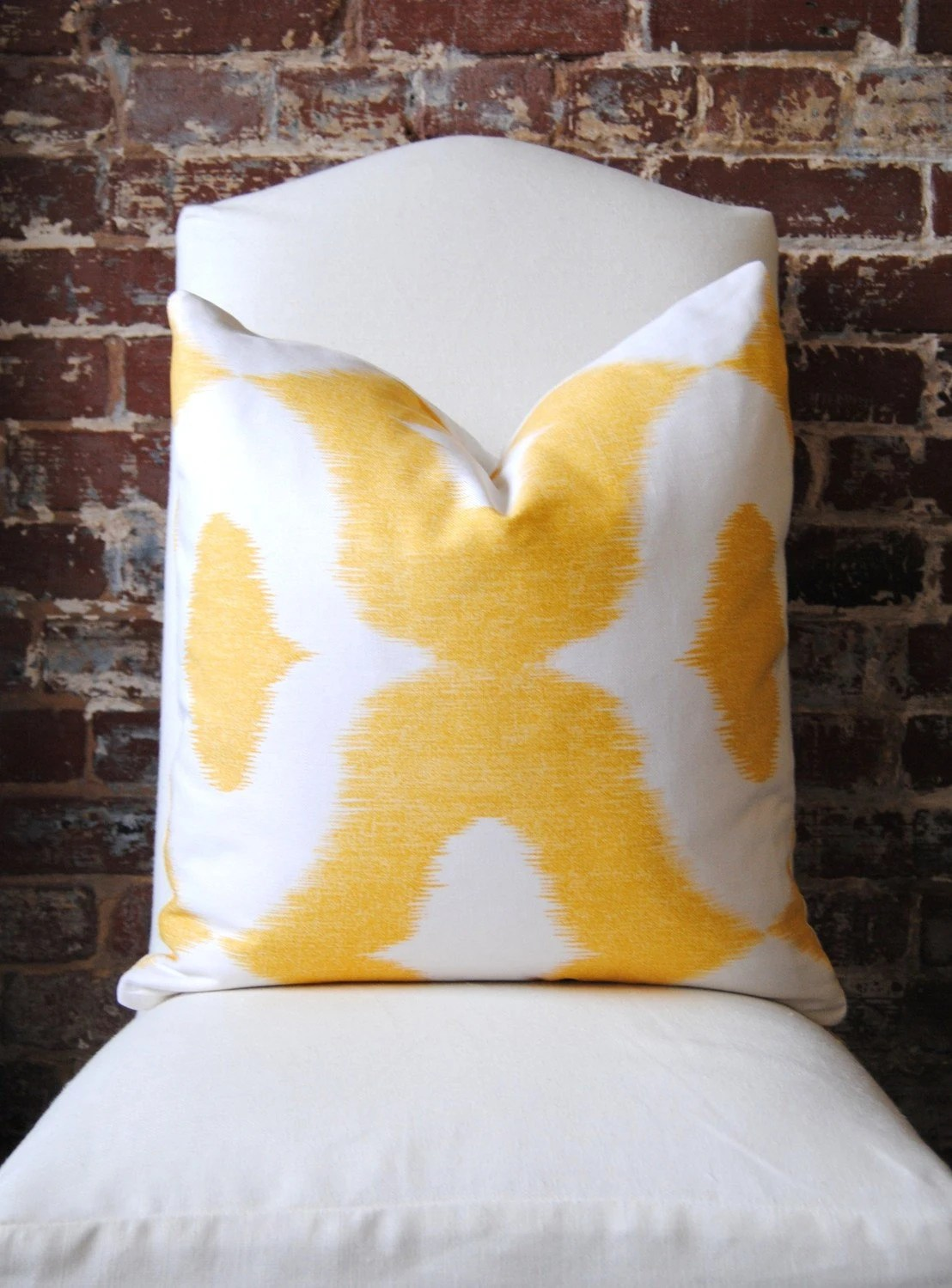 """Decorator Fabric - Ikat print in yellow - Dalesford by Duralee - 20""""x20"""""""