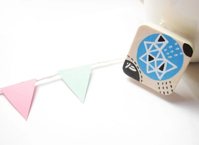 Baby Blue Geometric Square Hand painted wooden brooch