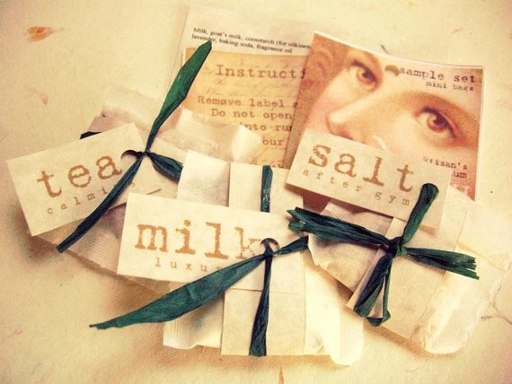 Sample Set Mini Bath Soaks--tea, milk, and salt 2.5 inch bags premium day spa