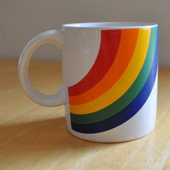 vintage set of two rainbow mugs