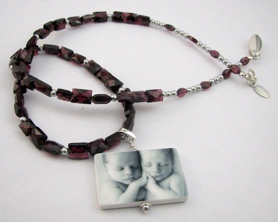 Faceted Garnet Gemstone Necklace with Custom Photo Pendant - Handmade Photo Tile Jewelry