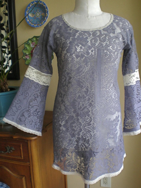 Gypsy Vintage Lace Dress/Tunic Hippie Fairy Tale  OOAK  Sz Small