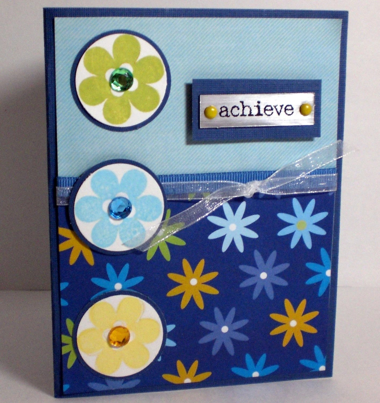 Blue Green Yellow Flower Achieve Bank Card