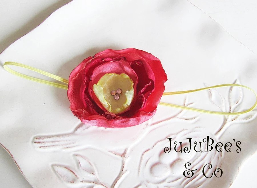 Sateen Coral and Chartreuse Flower Headband Photography Props Weddings Flower Girls