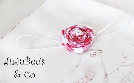 Summer Picnic Series Red and White Gingham Rolled Fabric Flower  Photography Prop Gifts Summer Spring