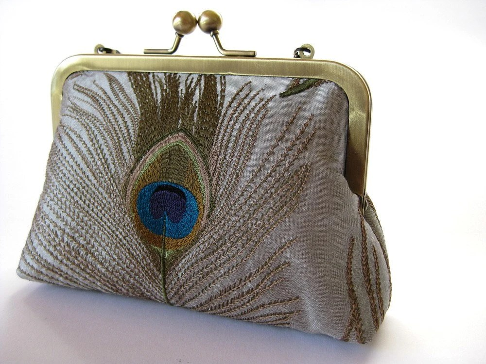 Silk embroidered peacock feather clutch purse with chain in Silver