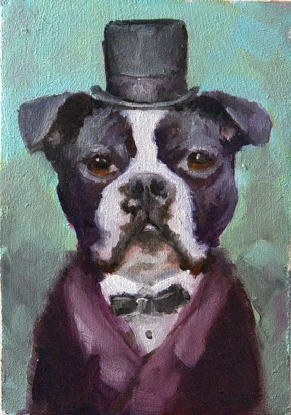 Sir Boston - Fridge Art - original oil painting by Clair Hartmann