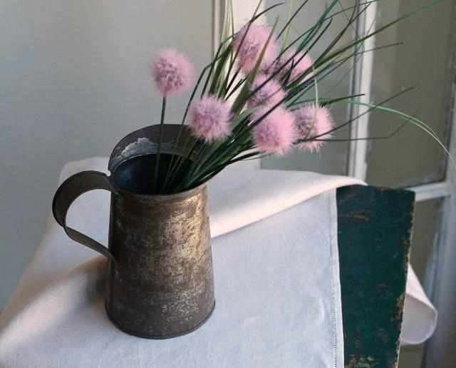 vintage rustic tin pitcher