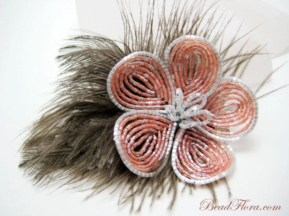 French fantasy beaded flower hair clip