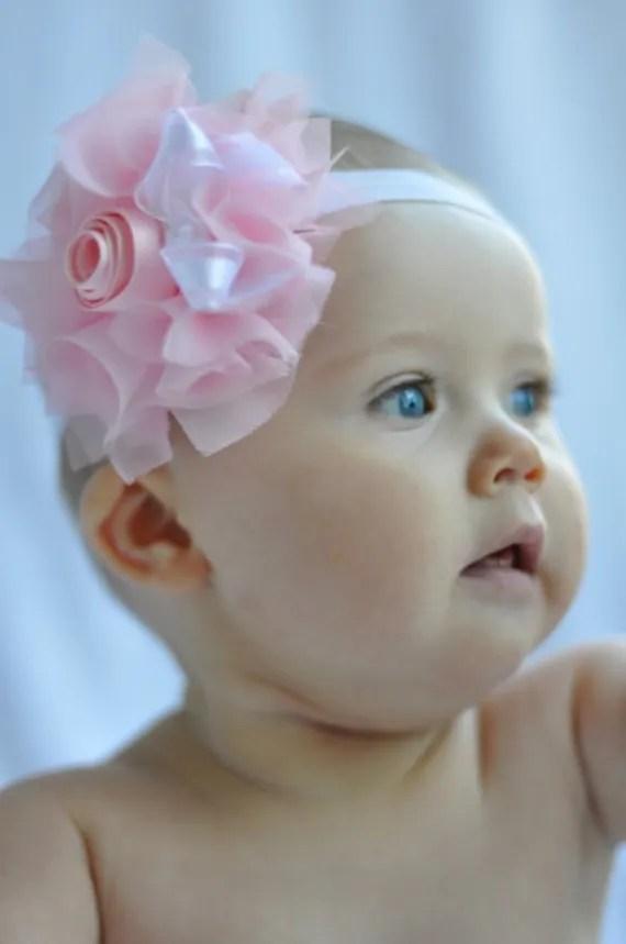 NEW Chic Charlotte Soft Pink Olivia Hair Piece in Chiffon Shabby Chic on White Elastic Headband