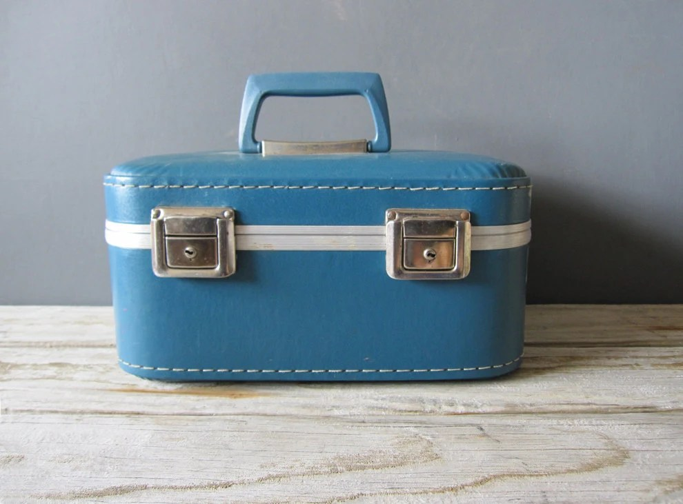 Bright Blue Train Case