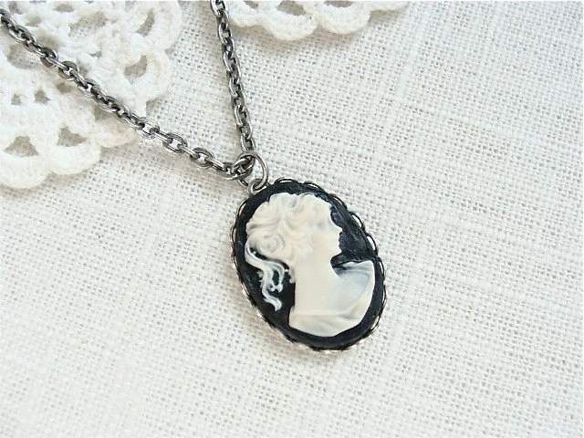 Black And Ivory Cameo Necklace.  Antique Silver.