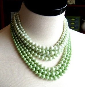 Vintage Multi Strand Variegated Pale Green Bead Necklace