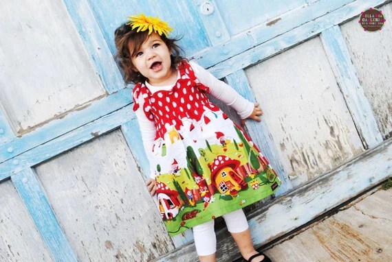 The Gnome Smocked Dress........ Gnomeo and Juliet Inspired...cute little gnomes...eco-friendly..sustainable fashion