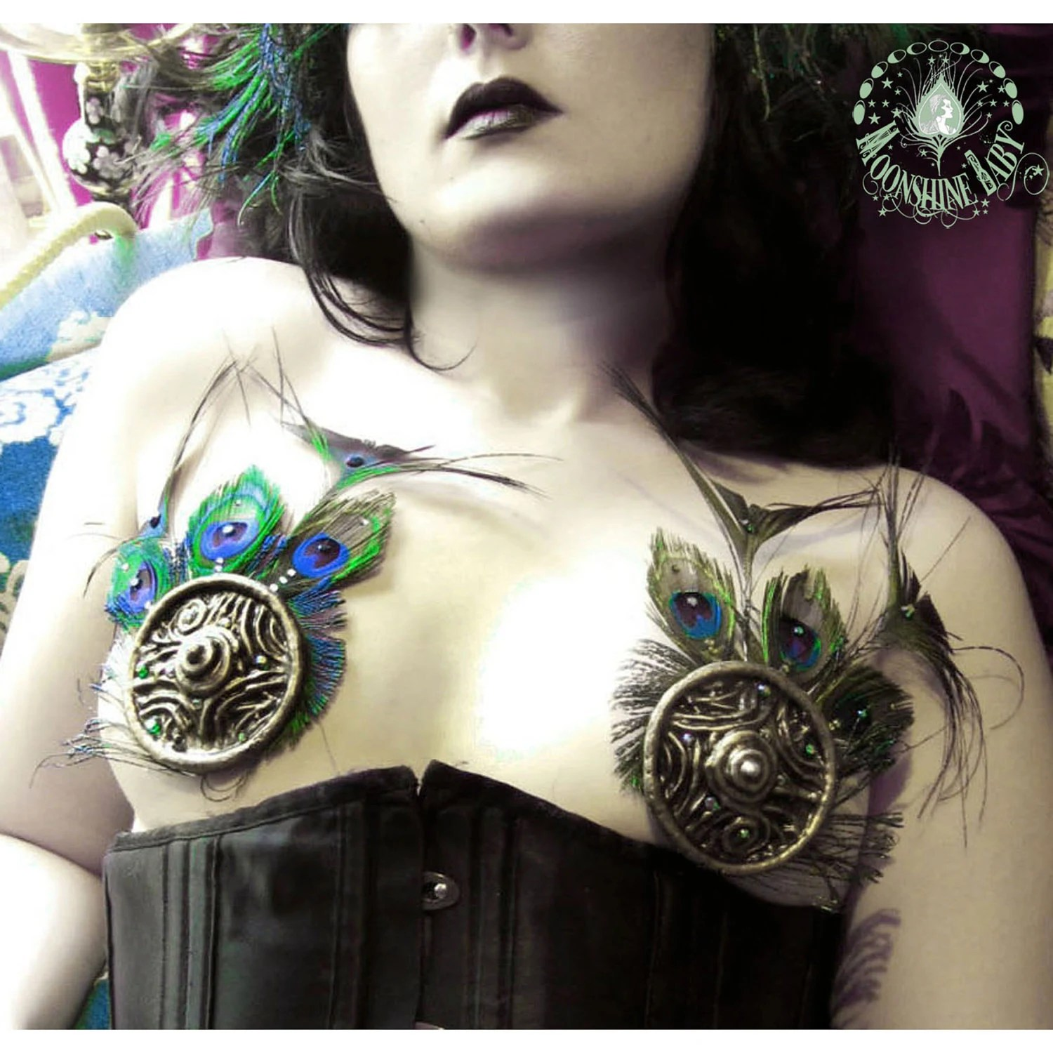 Art Nouveau Filigree Feather Pasties - Gold w/ Peacock Feathers and Swarovski Crystals - By Organic Armor & Moonshine Baby