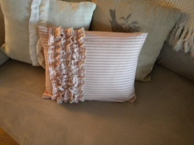 12x16 Red and Cream Ticking Print Pillow Cover