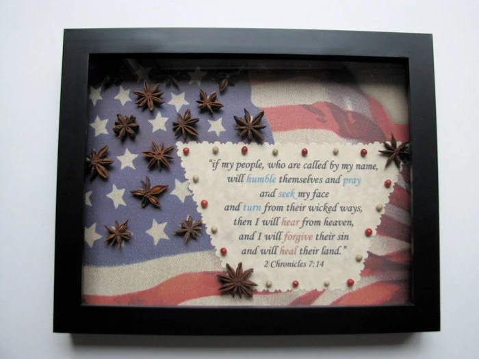 """Patriotic Shadowbox with  2 Chronicles 7:14  """"if my people will humble themselves and pray..."""""""