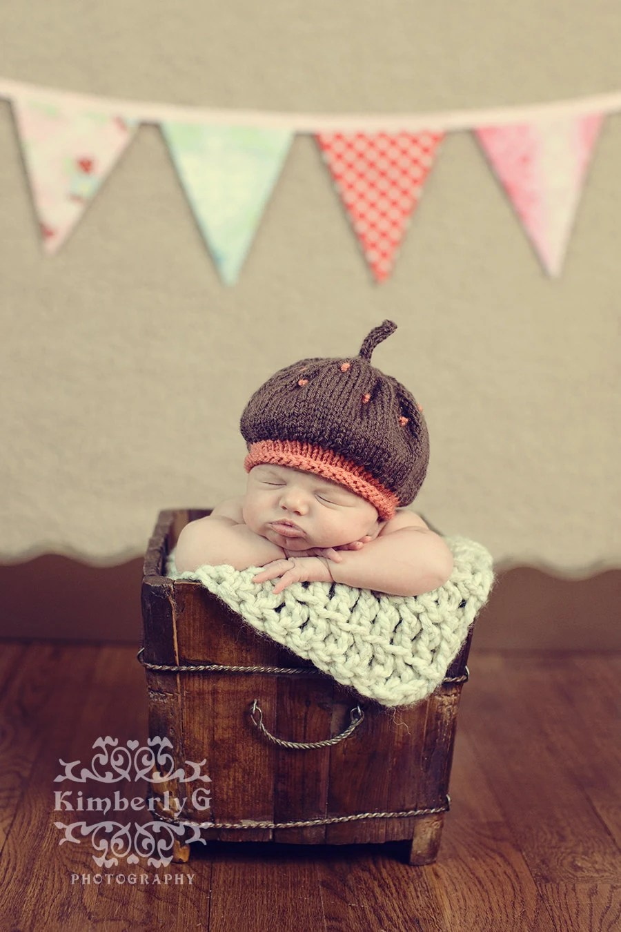 Brown and Coral Slouch Tam Boutique  Newborn Baby Girl Hand Knit Hat Photo Prop
