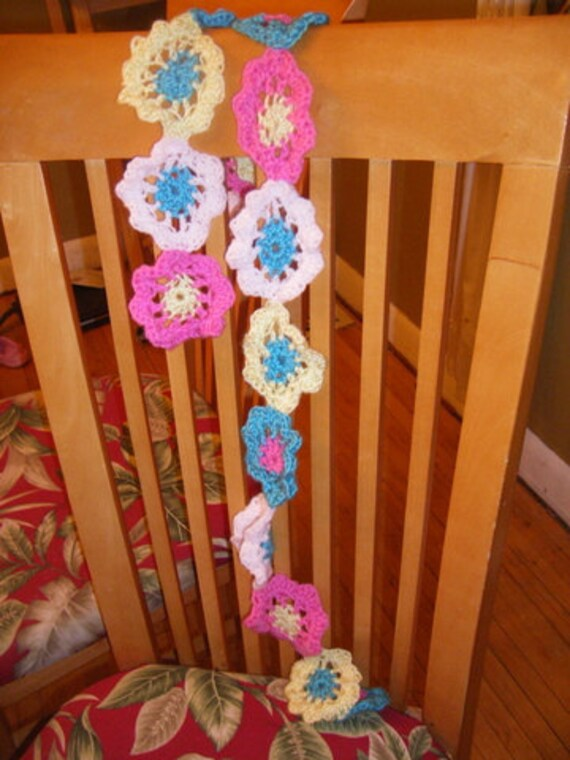 Scarf flower chain blue pink yellow extra long