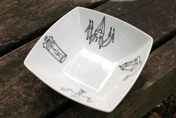 new orleans light fixture bowl - porcelain - black and white hand drawn illustration