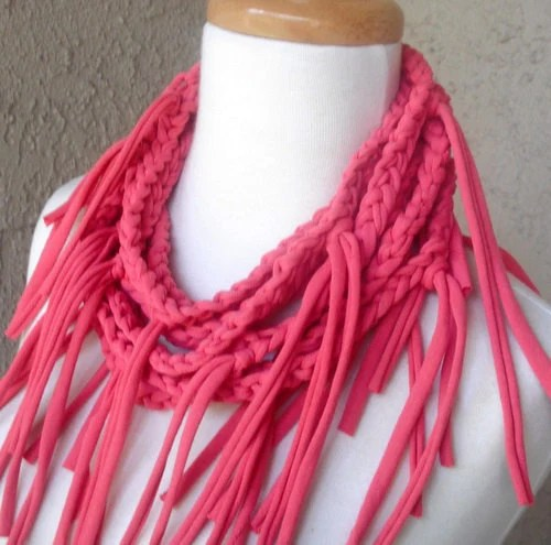 SALE....Honeysuckle Pink T-Shirt Yarn Scarf Crocheted, Jersey, Necklace, Salmon, Coral, Scarves, Circular, Cowl, Eternity
