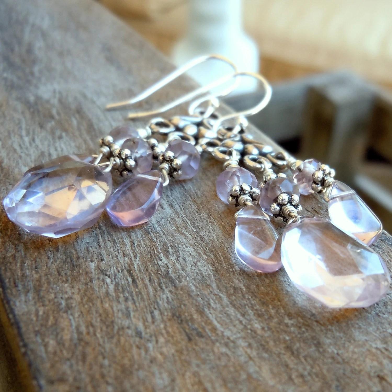 Amethyst Earrings Sterling Silver Pale Pink Chandelier with Ametrine - Rose Romance