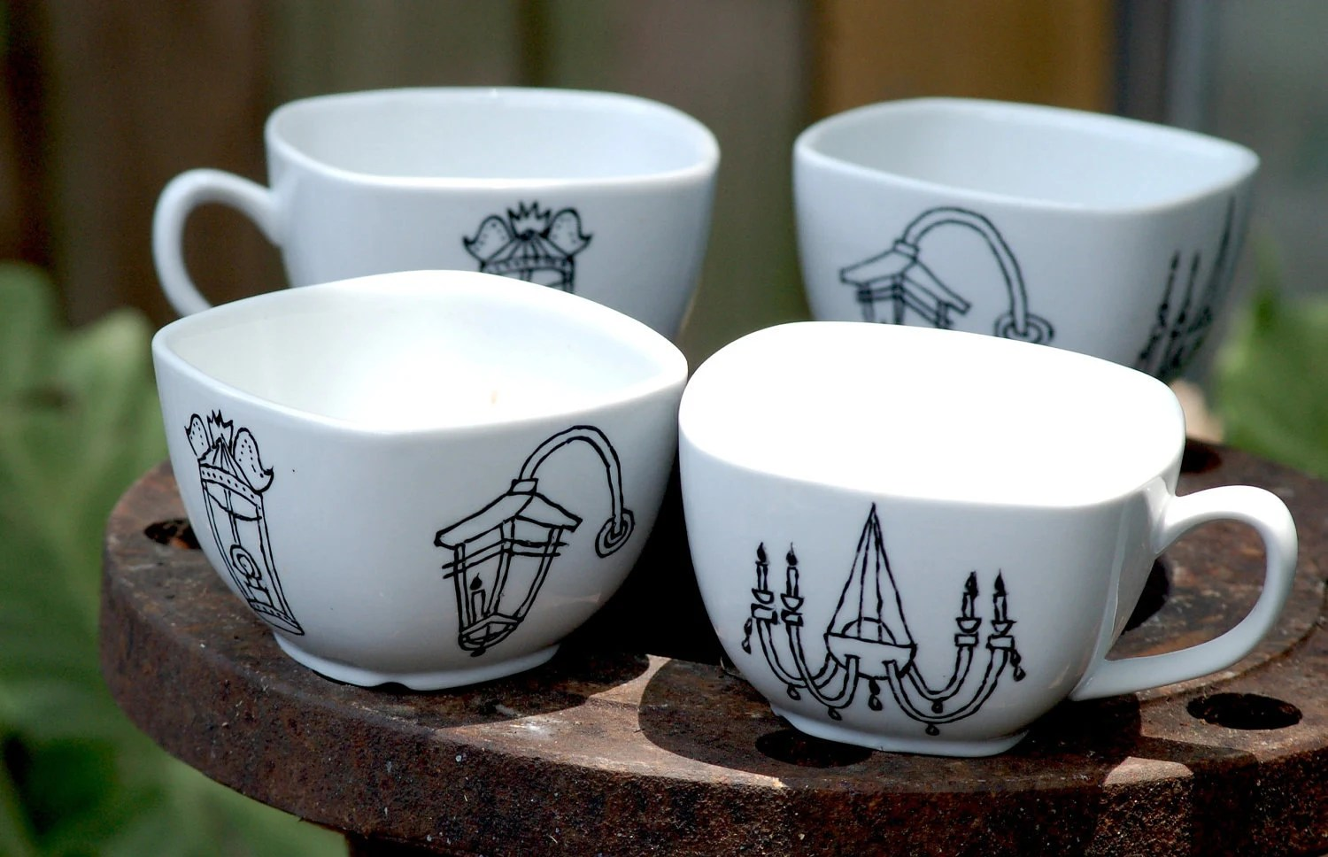 set of four (4) new orleans light fixture mugs - porcelain - black and white hand drawn illustration