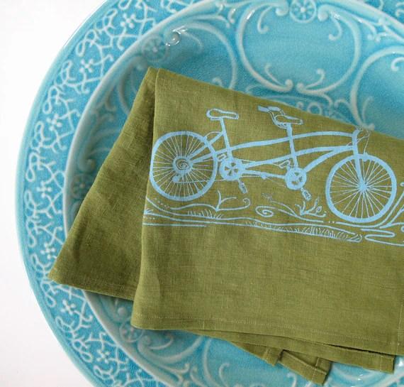 Green Linen Tea Towel - Tandem Bicycle in Aqua