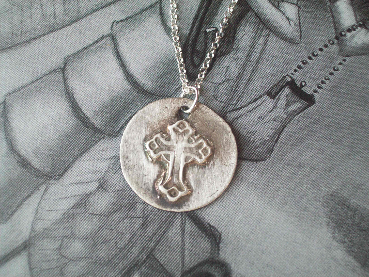 Fine Silver Circle Embossed Cross Pendant on chain or leather