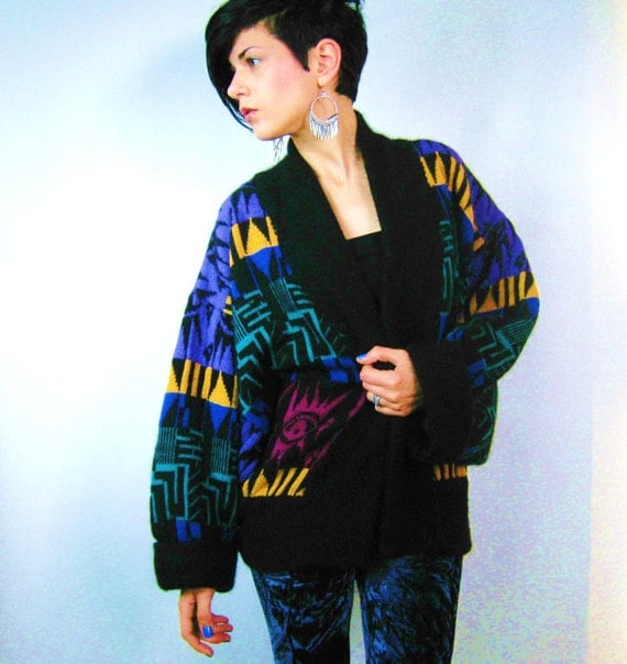 Amazing Rainbow NeoTribal Cocoon Sweater (L)
