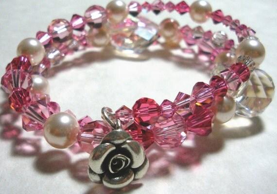 Sweet Pink Swarovski Crystal Wrap Bracelet Etsy Silver