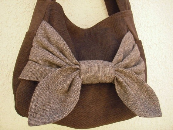 Brown Tweed Bow Bag - Free P&P