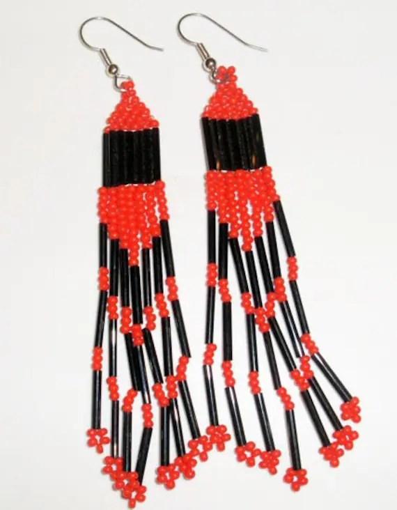 Native American Beaded Earrings (Red and Black)