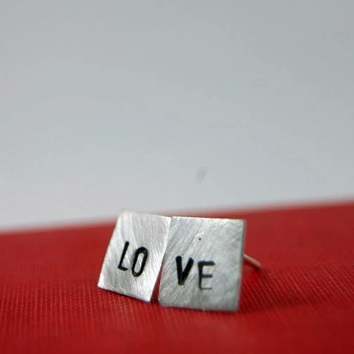 LOVE studs, sterling silver stamped earrings - Made to Order - Allow 5 Business Days to Ship - by Markhed