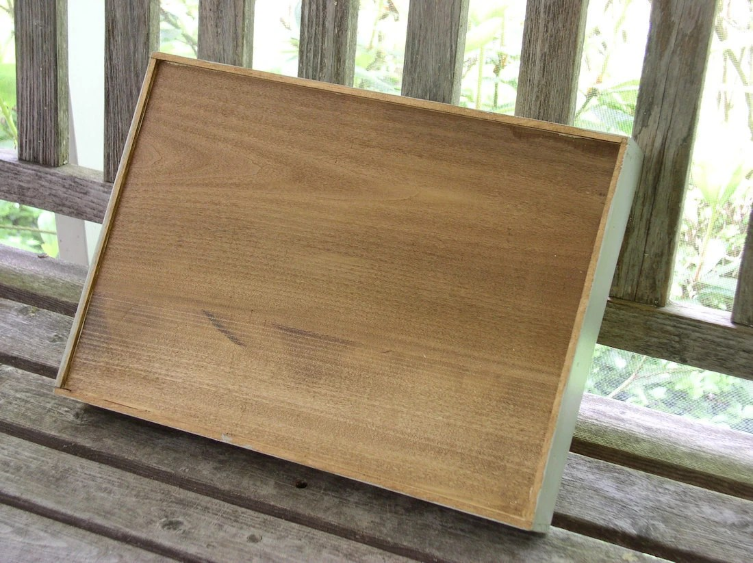 Hand Painted Sturdy Country Cottage Chic Wood Tray