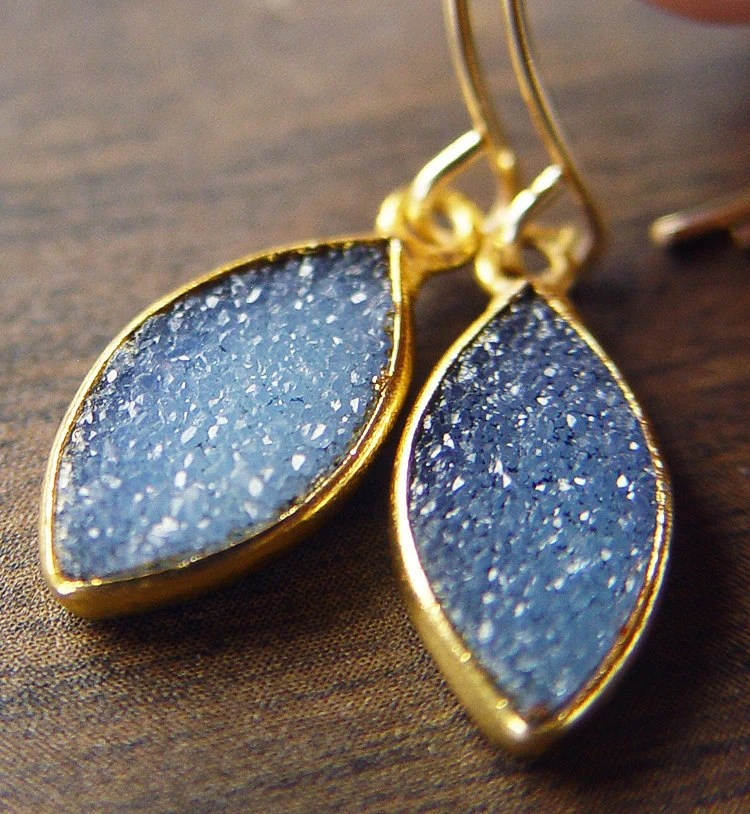 Midnight Teal Drusy Gold Earrings