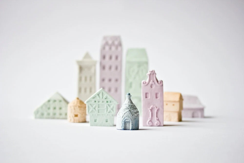 Clay Architecture Set - Ceramic clay houses by Artisanie Europe - pastel colors easter colors bright spring colors wedding favor